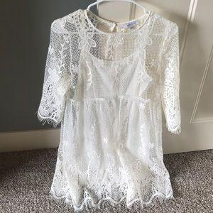 White Ivory Lace 3/4 Long Sleeve Wedding Dress